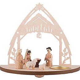 Teelichtleuchter Christgeburt mit Figuren - 16 cm