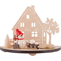 Teelichtleuchter Schneemann - rot - 13 cm