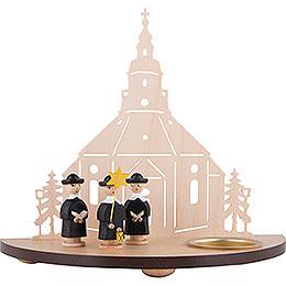 Teelichtleuchter Seiffener Kirche mit Kurrende schwarz - 16 cm