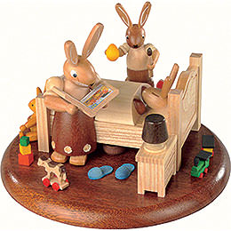 Theme Platform for Electr. Music Box - Bunny Bed with Good Night Stories - 10 cm / 4 inch