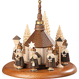 Theme Platform for Electr. Music Box - Carolers and Seiffen Church Natural - 13 cm / 5 inch