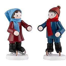 Thiel-Figur Schlittschuhkinderpaar - bunt - 7 cm