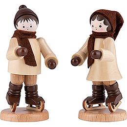Thiel-Figur Schlittschuhkinderpaar - natur - 7 cm