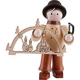 Thiel-Figur Schwibbogenhändler - natur mit Bügelsäge - 6 cm
