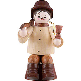 Thiel-Figur Waldarbeiter sitzend auf Stamm - natur - 10 cm