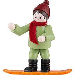 Thiel-Figur Winterkind mit Snowboard - bunt - 6,5 cm
