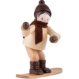 Thiel-Figur Winterkind mit Snowboard - natur - 6,5 cm