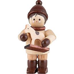 Thiel Figurine - Boy with Horsy - natural - 4,6 cm / 1.8 inch