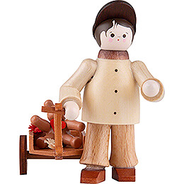 Thiel Figurine - Boy with Teddy in Handcart - 5,5 cm / 2.2 inch
