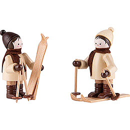 Thiel Figurine - Children with Ski - natural - Set of Two - 5,5 cm / 2.2 inch