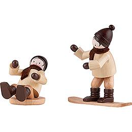 Thiel Figurine - Children with Snowboard and Slider - 6 cm / 2.4 inch