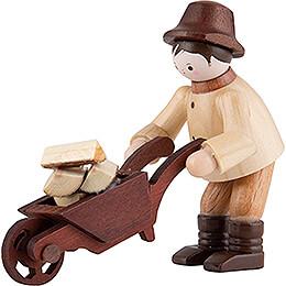 Thiel Figurine - Forest Man with Wheelbarrow - natural - 6 cm / 2.4 inch