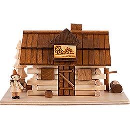 Traditionelles Rauchhaus Köhlerhütte mit Waldarbeiter und LED - 10,5 cm