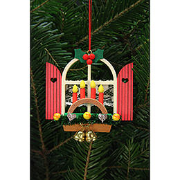 Tree Ornament - Advent Window with Candle Arch - 7,6x7,0 cm / 3x3 inch