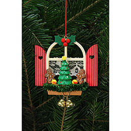 Tree Ornament  -  Advent Window with Gingerbread  -  7,6x7,0cm / 3x3 inch