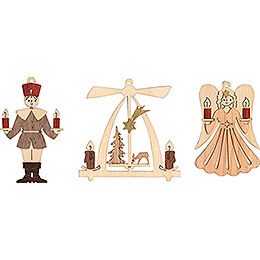 Tree Ornament - Angel, Miner, Pyramid - Set of 6 - 7 cm / 2.8 inch