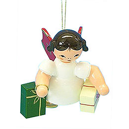 Tree Ornament - Angel with 2 Gifts - Red Wings - Floating - 6 cm / 2,3 inch