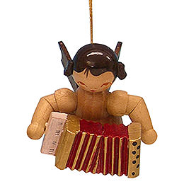 Tree Ornament - Angel with Accordion - Natural Colors - Floating - 5,5 cm / 2,1 inch