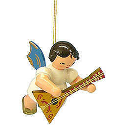 Tree Ornament - Angel with Balalaika - Blue Wings - Floating - 5,5 cm / 2,1 inch