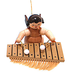 Tree Ornament - Angel with Bass Xylophone - Natural Colors - Floating - 5,5 cm / 2.2 inch
