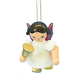 Tree Ornament - Angel with Bell - Red Wings - Floating - 6 cm / 2,3 inch