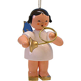 Tree Ornament - Angel with Blue Horn - Blue Wings - 9,5 cm / 3.7 inch