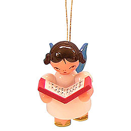 Tree Ornament - Angel with Book - Blue Wings - Floating - 5,5 cm / 2,1 inch