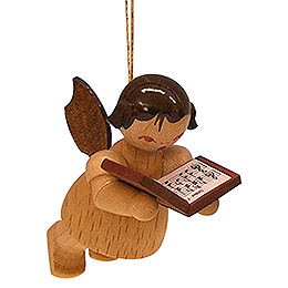 Tree Ornament - Angel with Book - Natural Colors - Floating - 5,5 cm / 2,1 inch