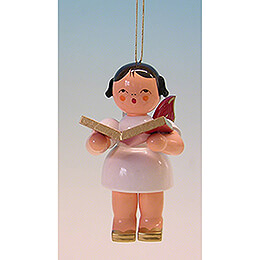 Tree Ornament - Angel with Book - Red Wings - 9,5 cm / 3.7 inch
