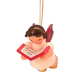 Tree Ornament - Angel with Book - Red Wings - Floating - 5,5 cm / 2,1 inch