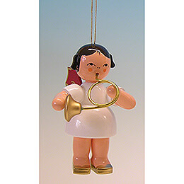 Tree Ornament - Angel with Bugle - Red Wings - 9,5 cm / 3.7 inch