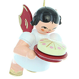 Tree Ornament - Angel with Cake - Red Wings - Floating - 5,5 cm / 2.2 inch