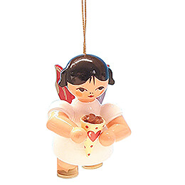 Tree Ornament - Angel with Candied Almonds - Red Wings - Floating - 5,5 cm / 2.2 inch