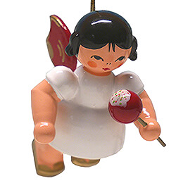 Tree Ornament - Angel with Candied Apple - Red Wings - Floating - 5,5 cm / 2.2 inch