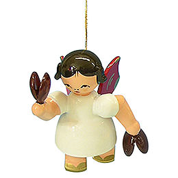 Tree Ornament - Angel with Castanet - Red Wings - Floating - 5,5 cm / 2,1 inch