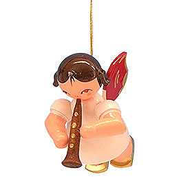 Tree Ornament - Angel with Clarinet - Red Wings - Floating - 5,5 cm / 2,1 inch
