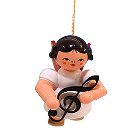 Tree Ornament - Angel with Clef - Red Wings - Floating - 5,5 cm / 2.2 inch