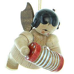 Tree Ornament - Angel with Concertina - Natural Colors - Floating - 5,5 cm / 2.2 inch