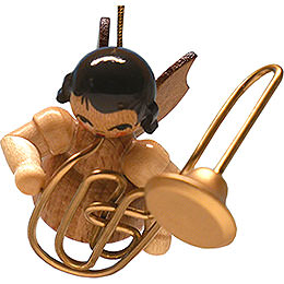 Tree Ornament - Angel with Contrabass Trombone - Natural- Floating - 5,5 cm / 2.2 inch