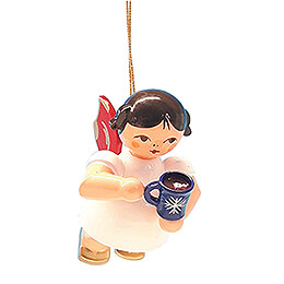 Tree Ornament - Angel with Cup of Mulled Wine - Red Wings - Floating - 5,5 cm / 2.2 inch