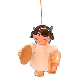 Tree Ornament - Angel with Cymbal - Blue Wings - Floating - 5,5 cm / 2,1 inch