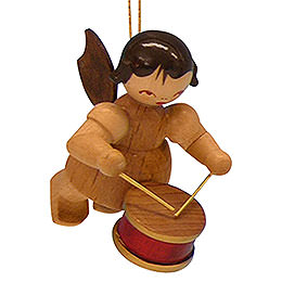 Tree Ornament - Angel with Drum - Natural Colors - Floating - 5,5 cm / 2,1 inch