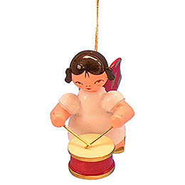 Tree Ornament - Angel with Drum - Red Wings - Floating - 5,5 cm / 2,1 inch