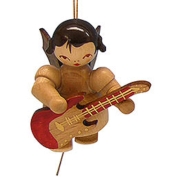 Tree Ornament - Angel with Electric Guitar - Natural Colors - Floating - 5,5 cm / 2,1 inch