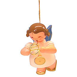 Tree Ornament - Angel with Flugelhorn - Blue Wings - Floating - 5,5 cm / 2,1 inch
