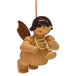 Tree Ornament - Angel with Flugelhorn - Natural Colors - Floating - 5,5 cm / 2,1 inch