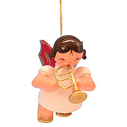 Tree Ornament - Angel with Flugelhorn - Red Wings - Floating - 5,5 cm / 2,1 inch