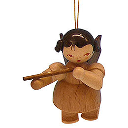 Tree Ornament - Angel with Flute - Natural Colors - Floating - 5,5 cm / 2,1 inch