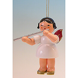 Tree Ornament - Angel with Flute - Red Wings - 9,5 cm / 3.7 inch