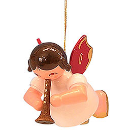Tree Ornament - Angel with Flute - Red Wings - Floating - 5,5 cm / 2,1 inch